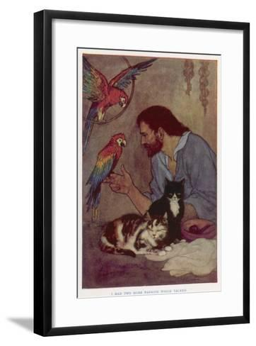 Robinson Crusoe with His Parrots and Cats-Elenore Plaisted Abbott-Framed Art Print