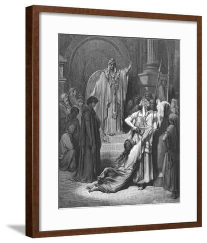 King Solomon Has to Decide Which of Two Women Claiming a Baby is the Rightful Mother-Gustave Dor?-Framed Art Print