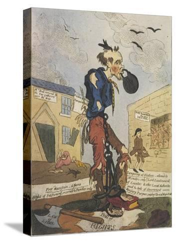 Satirical View of the Free- Born Englishman Following the Peterloo Massacre-George Cruikshank-Stretched Canvas Print