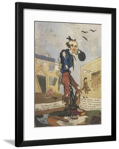Satirical View of the Free- Born Englishman Following the Peterloo Massacre-George Cruikshank-Framed Art Print