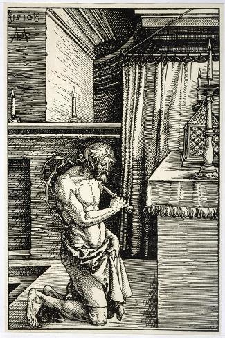 Man Flagellates Himself as Penance for His Sins-Albrecht D?rer-Stretched Canvas Print
