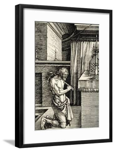 Man Flagellates Himself as Penance for His Sins-Albrecht D?rer-Framed Art Print
