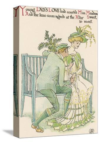 Flower Wedding Described by Two Wallflowers Lad's Love Courts Miss Meadowsweet-Walter Crane-Stretched Canvas Print