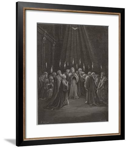 The Holy Spirit Descends on the Apostles and Their Associates with the Gift of Tongues-Gustave Dor?-Framed Art Print