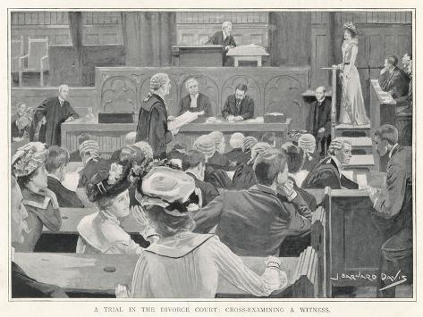 Trial in the Divorce Court London: Cross-Examining a Witness-J^ Barnard Davis-Stretched Canvas Print