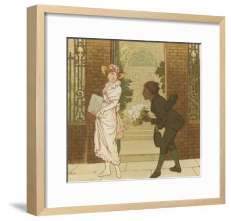 The Queen of the May is Presented with a Bouquet of Flowers by a Chimney Sweep-Robert Dudley-Framed Art Print
