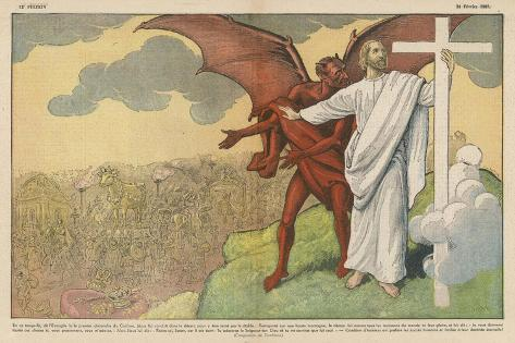 Satan Offers Jesus All Kinds of Nice Things if He Will Only Renounce His Mission: But He Refuses-Eugene Damblans-Stretched Canvas Print