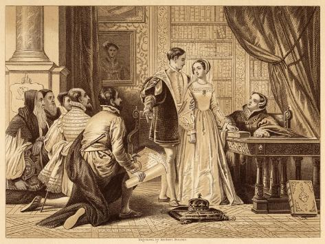 Lady Jane Greys Reluctance to Accept the Crown Pictured Here with Lord Guildford Dudley Her Husband-Herbert Bourne-Stretched Canvas Print