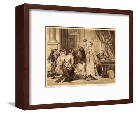 Lady Jane Greys Reluctance to Accept the Crown Pictured Here with Lord Guildford Dudley Her Husband-Herbert Bourne-Framed Art Print
