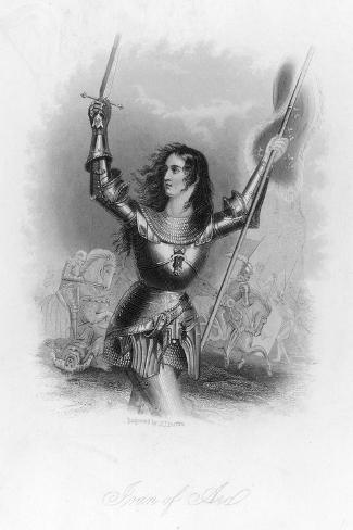 Joan of Arc French Heroine in Armour on the Battlefield-Jc Buttre-Stretched Canvas Print