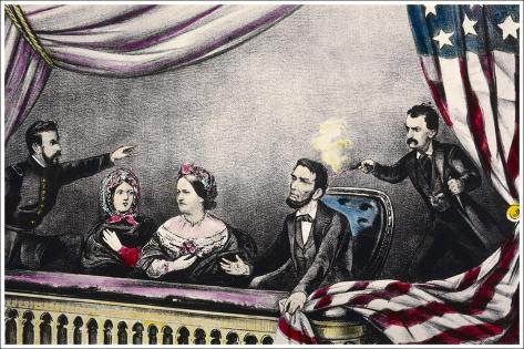 Abraham Lincoln President of the United States is Assassinated at the Theatre by John Wilkes Booth-Currier & Ives-Stretched Canvas Print