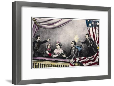 Abraham Lincoln President of the United States is Assassinated at the Theatre by John Wilkes Booth-Currier & Ives-Framed Art Print