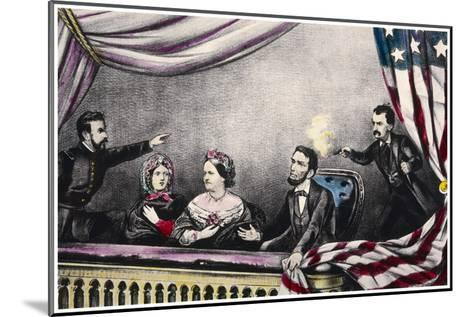 Abraham Lincoln President of the United States is Assassinated at the Theatre by John Wilkes Booth-Currier & Ives-Mounted Giclee Print