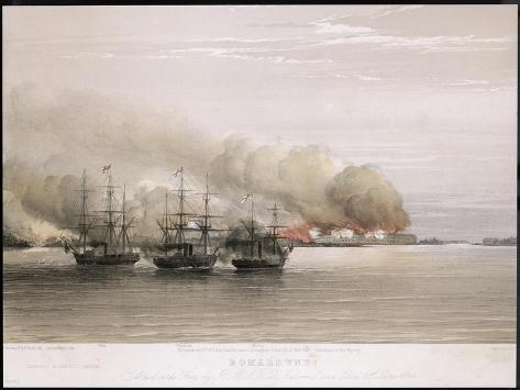 Bomarsund Bombarded-W. Browne-Stretched Canvas Print