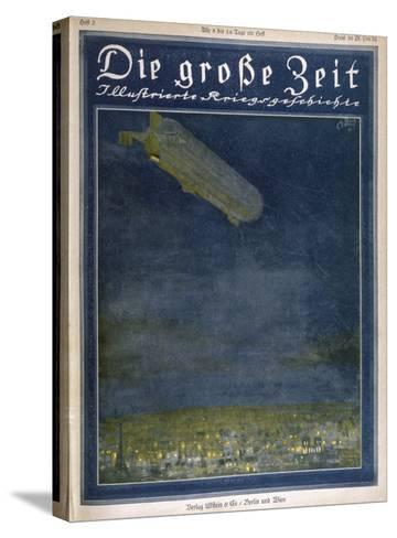 German Airship Hovers Menacingly Over Paris-Rodolf Czerny-Stretched Canvas Print