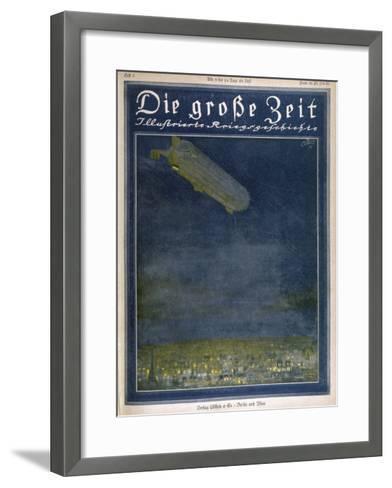 German Airship Hovers Menacingly Over Paris-Rodolf Czerny-Framed Art Print