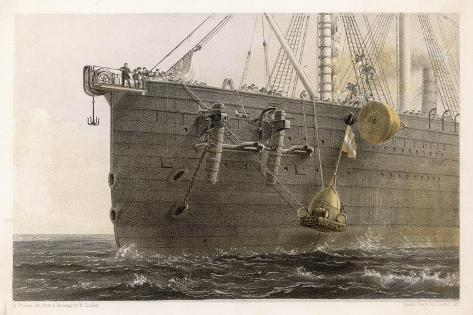 """When the Cable Breaks in Mid- Ocean a Buoy is Launched from the """"Great Eastern"""" to Mark the Spot-Robert Dudley-Stretched Canvas Print"""