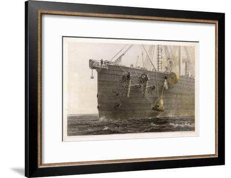 """When the Cable Breaks in Mid- Ocean a Buoy is Launched from the """"Great Eastern"""" to Mark the Spot-Robert Dudley-Framed Art Print"""