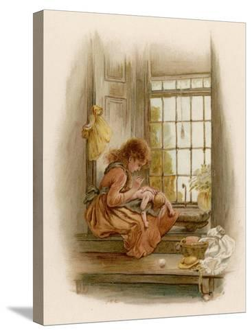 Girl Sits in a Window-Seat Mending Her Doll-M^ Ellen Edwards-Stretched Canvas Print