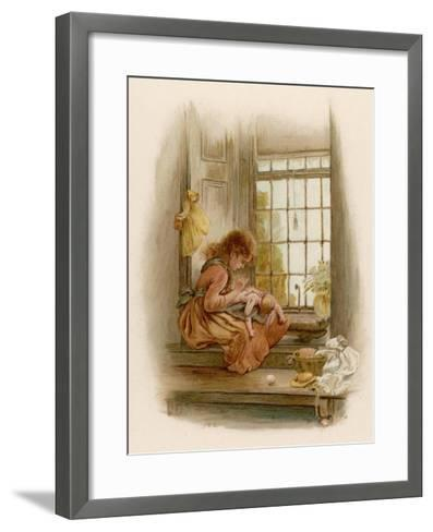 Girl Sits in a Window-Seat Mending Her Doll-M^ Ellen Edwards-Framed Art Print