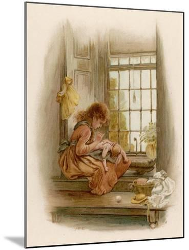 Girl Sits in a Window-Seat Mending Her Doll-M^ Ellen Edwards-Mounted Giclee Print