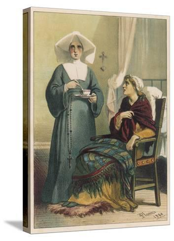 Sick Looking Patient and Her Nurse-D^ Euesbio-Stretched Canvas Print