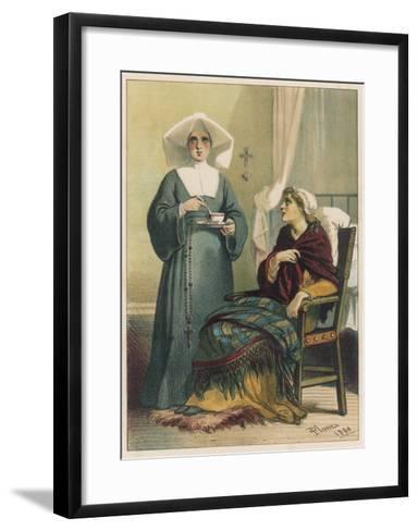 Sick Looking Patient and Her Nurse-D^ Euesbio-Framed Art Print