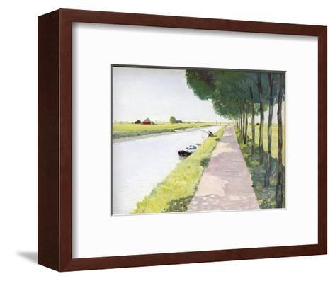 Dutch Scenery: Typical Canal with Fisherman-Andre Girard-Framed Art Print