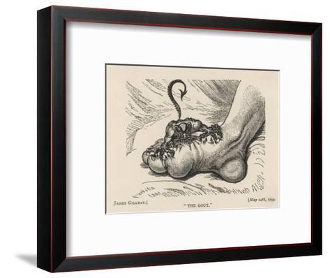 Little Devil Sinks His Teeth into the Swollen Foot of a Gout Sufferer-James Gillray-Framed Art Print