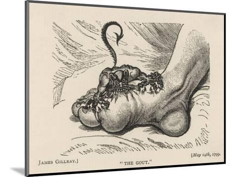 Little Devil Sinks His Teeth into the Swollen Foot of a Gout Sufferer-James Gillray-Mounted Giclee Print