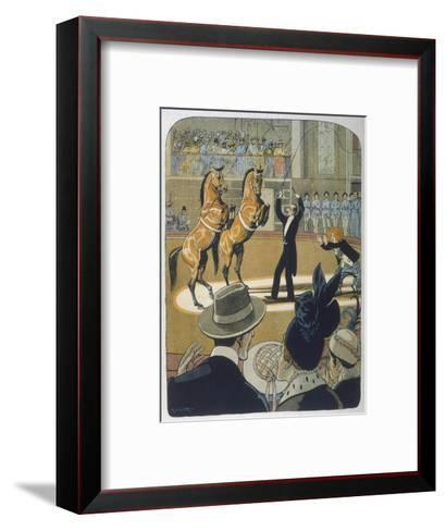 The Trainer Makes His Pair of Bay Horses Rear up in Front of the Audience-Rasmus Christiansen-Framed Art Print