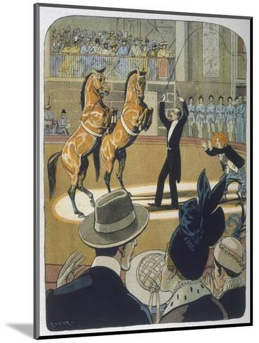 The Trainer Makes His Pair of Bay Horses Rear up in Front of the Audience-Rasmus Christiansen-Mounted Giclee Print