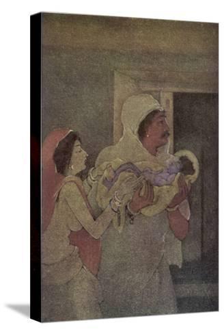 Krishna (The 8th Incarnation of Vishnu) is Born to Devaki and Vasudev-Nanda Lal Bose-Stretched Canvas Print