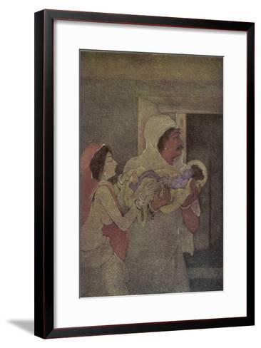 Krishna (The 8th Incarnation of Vishnu) is Born to Devaki and Vasudev-Nanda Lal Bose-Framed Art Print