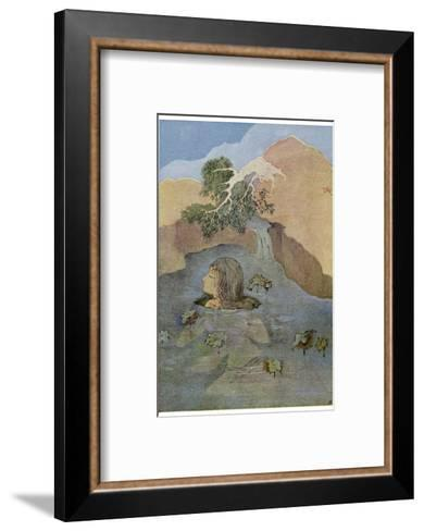 Parvati (Uma) is Unable to Distract Shiva from His Contemplation by Her Beauty-Nanda Lal Bose-Framed Art Print