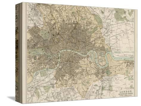 Map of London and Its Suburbs-J^ Bartholomew-Stretched Canvas Print
