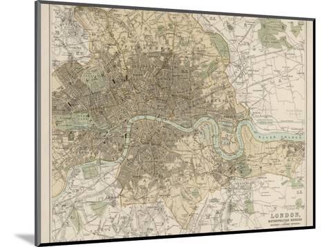 Map of London and Its Suburbs-J^ Bartholomew-Mounted Giclee Print