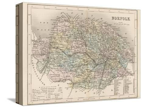 Map of Norfolk-James Archer-Stretched Canvas Print