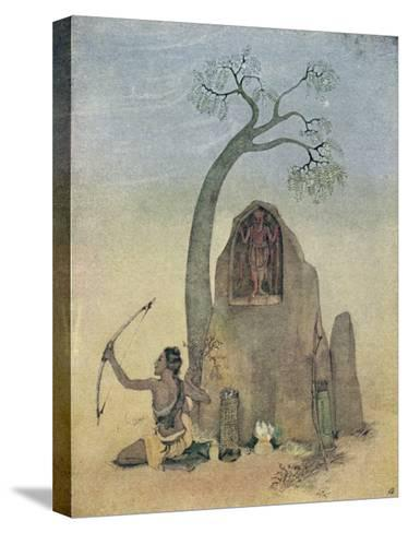 Ekalavya and Drona-Nanda Lal Bose-Stretched Canvas Print