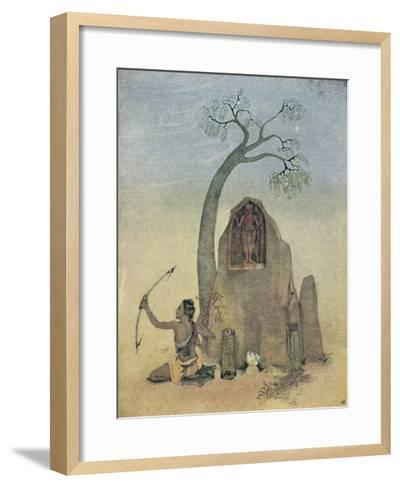 Ekalavya and Drona-Nanda Lal Bose-Framed Art Print