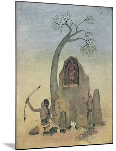 Ekalavya and Drona-Nanda Lal Bose-Mounted Giclee Print