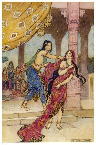 Draupadi the Polyandrous Wife of the Katava Brothers is Attacked by Prince Duhsasana-Warwick Goble-Stretched Canvas Print