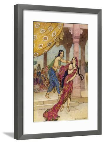 Draupadi the Polyandrous Wife of the Katava Brothers is Attacked by Prince Duhsasana-Warwick Goble-Framed Art Print