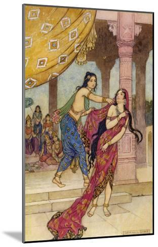 Draupadi the Polyandrous Wife of the Katava Brothers is Attacked by Prince Duhsasana-Warwick Goble-Mounted Giclee Print