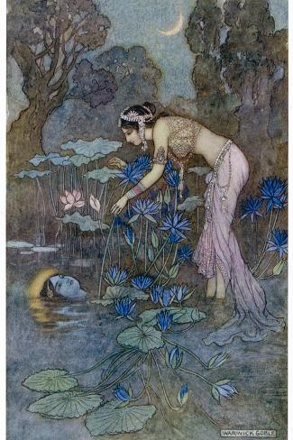 Sita Finds Rama (Seventh Avatar of Vishnu) Among the Lotus Blooms-Warwick Goble-Stretched Canvas Print
