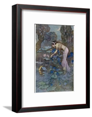 Sita Finds Rama (Seventh Avatar of Vishnu) Among the Lotus Blooms-Warwick Goble-Framed Art Print