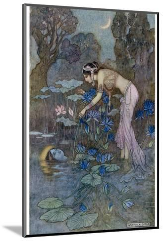 Sita Finds Rama (Seventh Avatar of Vishnu) Among the Lotus Blooms-Warwick Goble-Mounted Giclee Print