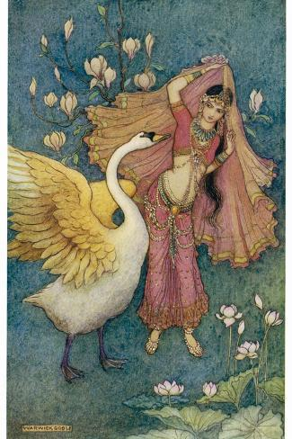Swan Grateful for Being Spared by Prince Nala Tells Damayanti How Handsome He Is-Warwick Goble-Stretched Canvas Print