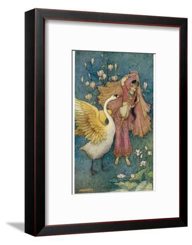 Swan Grateful for Being Spared by Prince Nala Tells Damayanti How Handsome He Is-Warwick Goble-Framed Art Print