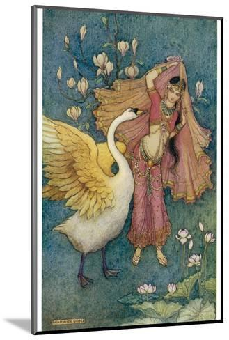 Swan Grateful for Being Spared by Prince Nala Tells Damayanti How Handsome He Is-Warwick Goble-Mounted Giclee Print